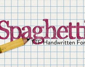 alphabits - spaghetti ttf handwritten font - automatic download