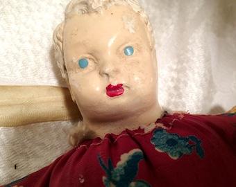 Very Creepy Antique Boy Pin Cushion Doll Chalkware Head