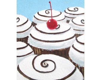 Original Painting CUPCAKE SWIRL LANDSCAPE aceo Mini Painting Small Art Format by Rodriguez Dessert Series