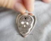 calaca embossed Silver Pick, skull,  hard pick Personalized jewelry engraved  men, father, music, initial,plectrum, spike