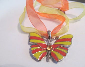 orange yellow pendent butterfly