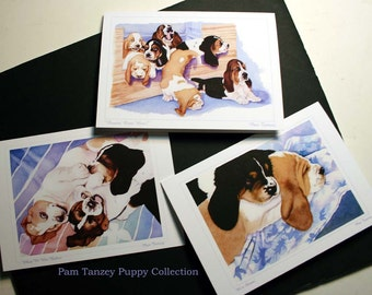 Basset Hound Puppies All Occasion 3 Card Collection
