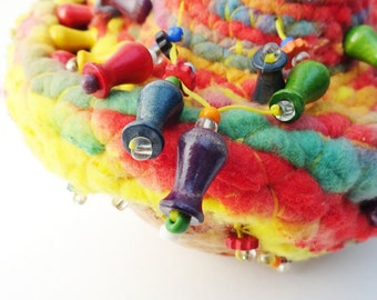 Funky Colorful Fiber on Gourd, UFO, Yellow Green Red Blue, Soft sculpture