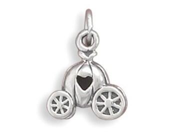 Carriage Charm, Pumpkin Carriage with Heart Charm, Fairytale Charm, Cinderellas Coach Charm, Fantasy, Fable, Princess Carriage Charm