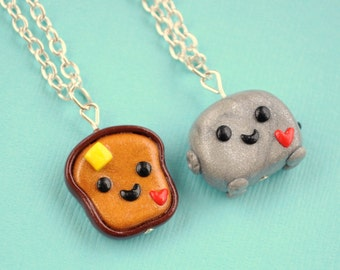 BFF Necklaces Toast and Toaster Best Friend Necklaces, BFF Charms, Kawaii Charm