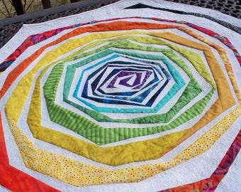 RAINBOW WHIRLPOOL, 36 inch handmade quilted octagon wallhanging