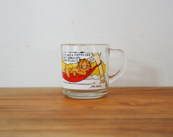 vintage 80s Garfield and Odie Clear Glass Mug