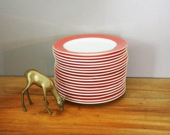 vintage 1950s Pyrex Dinnerware Salmon Pink Red & Gold Band Set of 18 Salad Dinner Plates