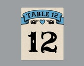 Vintage Antique Victorian Edwardian Cottage Chic Rustic Large Banner Wedding Reception Table Numbers