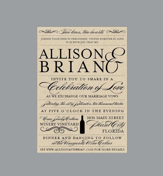 Vintage Antique Edwardian Victorian Vineyard Wine Bottle Rustic Wedding Invitations