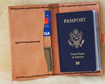 Hand laced veg tanned passport money credit card wallet with  button closure