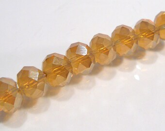 Champagne Beige AB Glass Faceted Rondelle Beads....10 Beads....8x6mm