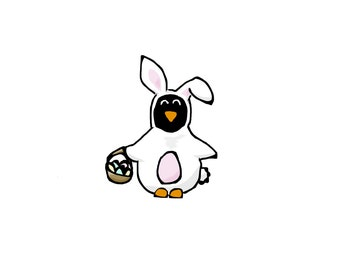 Easter Bunny Penguin Card - Set of 4