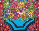 Original wild  flower painting on a Vintage tin ceiling tile  by Linda Kelly