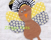 Quirky Turkey Applique - for Turkey Shirt or Turkey Onesie - DIY iron on patch - Yellow and Grey Fabrics #6