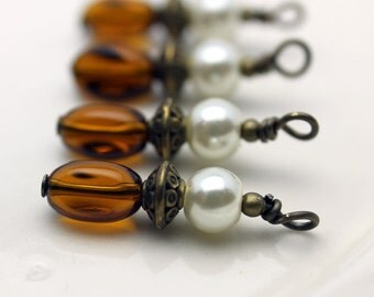 Brown Twisted Glass and White Pearl Bead Dangle Charm Set
