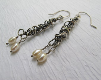 Tangled silver Seaweed and white pearl Kelp earrings work to evening earrings