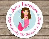 Mermaid--address or party or name or holiday stickers--choose size--choose gloss or matte