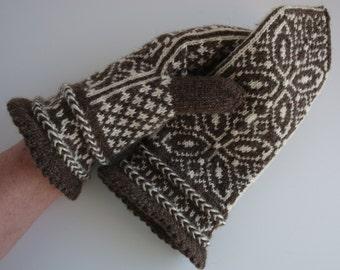 Hand Knit Fair Isle Mittens, Latvian Braid, Norwegian, Scandinavian, Brown and Cream - W. Med.