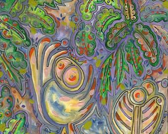 """COLORFUL Abstract Wall Art, Bird Art, Small Painting, Abstract Bird Art, Abstract Raw Art, Contemporary Modern Art,Green,""""Assert Yourselves"""""""