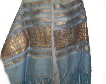Vtg 50s nylon shawl  blue with gold embroidery