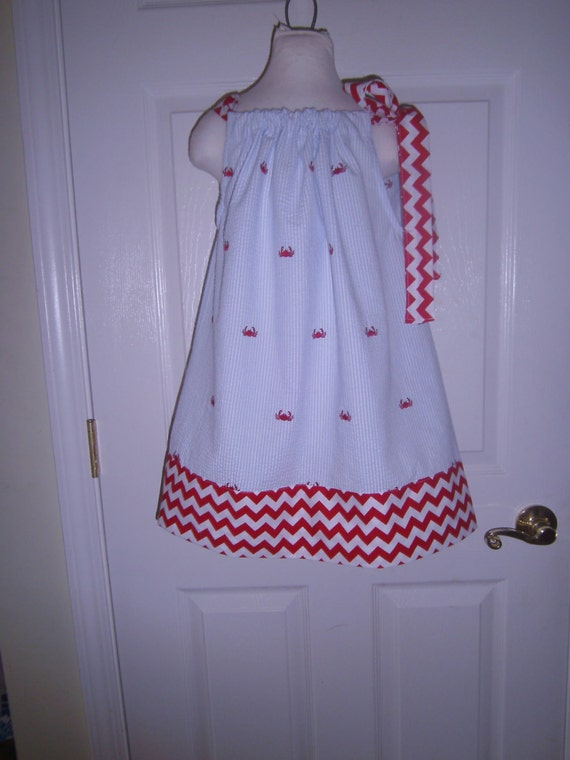Girls Dress, Summer Sundress, Red Crab Blue White Seersucker, Sizes 6,7,8,10 girls, Ready to ship