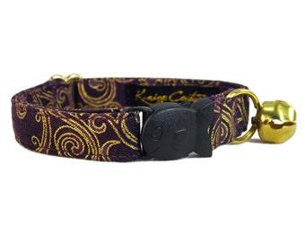 Purple Cat Collar - Cat Breakaway Collar - Fancy Collar for Cats - Unique Collar for Girl Cat - Safe Cat Collars - Cat Collar with Bell