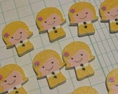 "Wood Girl Buttons - Little Blonde Girlie Wooden Buttons - 3/4"" Wide - 12 Buttons"