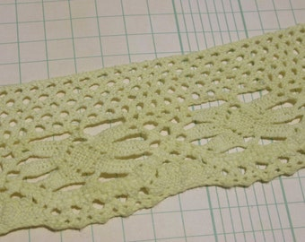 """Wide Cluny Lace Trim - Light Lime Green Crochet Lace - 2"""" - 6 Yards"""