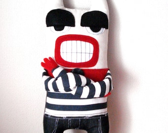 Handmade Art Doll , Stuffed Toy , Monster Stuffed Recycled Made to order
