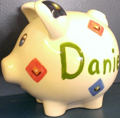 Personalized ceramic piggy bank for boys by ceramicdreamsgifts - Coin banks for boys ...