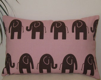"""Pink and Brown Baby Elephant Pillow Cover - Pillow Case 12""""x18"""" - Lumbar Pillow cover - Invisible Zipper"""