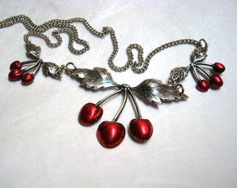 Silver Jewelry, Rockabilly Cherries Necklace, Blood Cherry Red Pendants, Vintage Jewelry Chain, Custom Handmade, USA