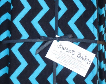 Extra Large Turquoise and Black Chevron Baby Blanket and 2 Burp Cloth Set - 38 X 38