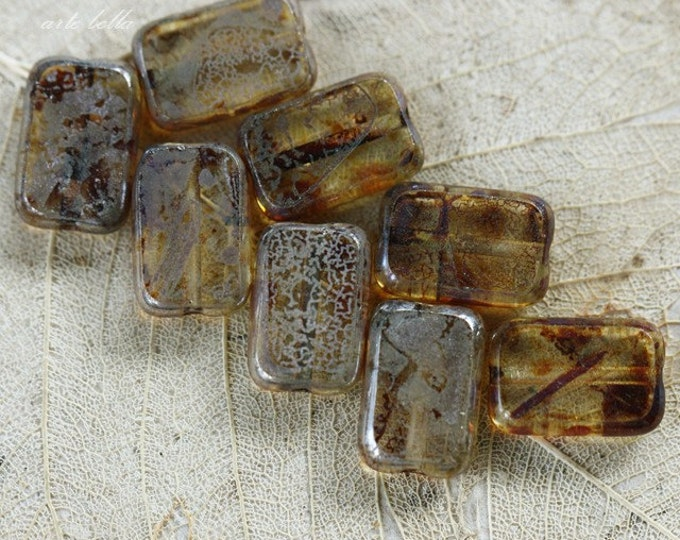 SILVERED AMBER .. 10 Picasso Czech Glass Rectangle Beads 12x8mm (3874-10)