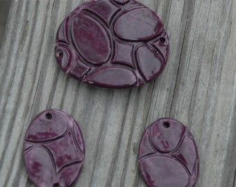 Handmade Pottery Beads 3 piece set in Blueberry with oval pattern