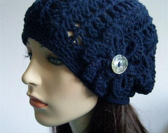 Slouchy Beanie Hat with Flower Slouch Hat Womens Hat Lightweight Eco Friendly Vegan - Navy Blue Cotton - Made to Order
