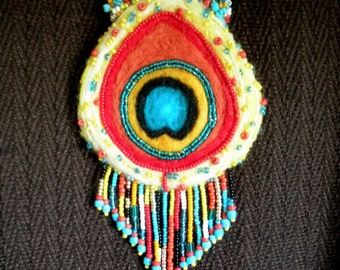 FREE SHIP Needle felted wool Fringed HAPPY Peacock Feather Necklace in red, yellow, turquoise blue, aqua - BearlyArtDesigns