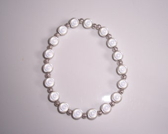 Handmade white miracle bead stretch bracelet