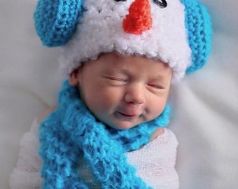 SNOWBABY Newborn photo op Hat  Scarf and Diaper Cover
