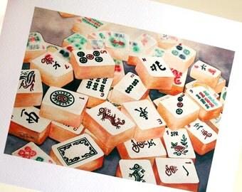 PRINT Mahjong Tiles 5x7 inch Giclée Fine Art Print