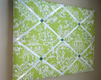 16x20 French Memory Board or Bow Holder, Ribbon Board, Vision Board, Bow Board, Organizer, Photography Display, Green Japanese Toile
