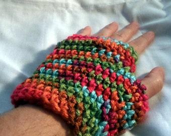 Crochet Fingerless Gloves, Fingerless Mittens, Fruit Punch Colors