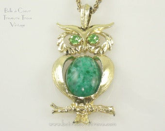Vintage Owl Pendant Necklace with Green Eyes Articulated Body