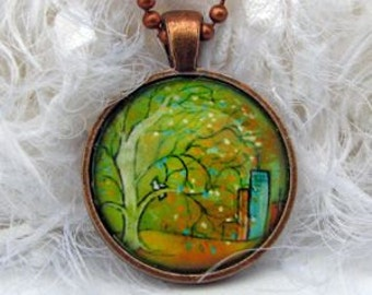 New Day,  Art Pendant and Necklace in copper color tray. Created with an exclusive Shelley Roze image.