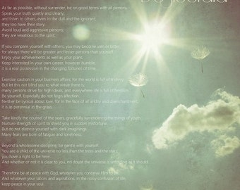 Desiderata Wishes  . poetry poem quotation text nature dandelion photograph, wall art, office home decor inspirational dreamy sunny sky sun