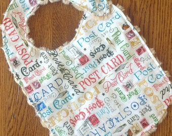 On Sale - Post Card Minky Baby/Toddler Bib
