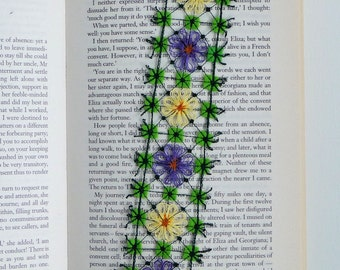 Flower Carpet embroidered bookmark, textile art, free machine embroidery and hand embroidery
