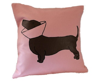 Cone Dog Pillow / Dachshund Pillow / Doxie Pillow / Wiener Dog / Pink Pillow