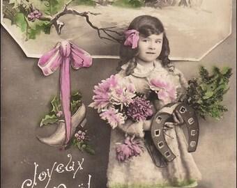 Real Photo vintage postcard Joyeux Noel, Christmas, Girl with giant horseshoe, flowers, RPPC vintage postcard, SharonFosterVintage